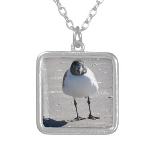 Silly Beach Bird Square Pendant Necklace