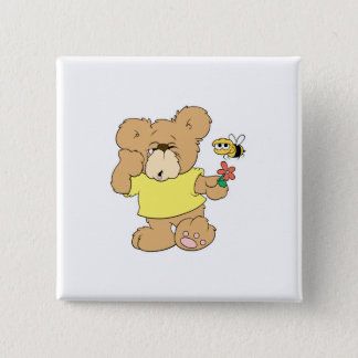 SIlly Bear With Flower and Bee Button
