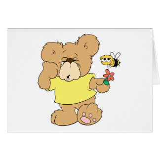 SIlly Bear With Flower and Bee Card