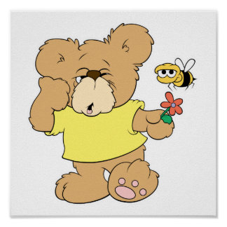 SIlly Bear With Flower and Bee Posters
