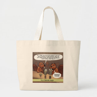 Silly Beaver Jokes Funny Cartoon Large Tote Bag