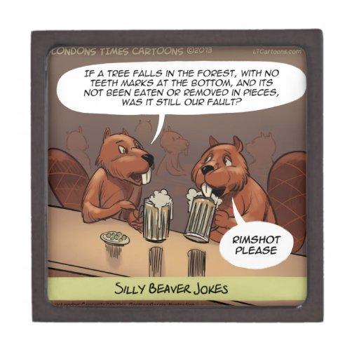 Silly Beaver Jokes Funny Cartoon Premium Keepsake Box Zazzle