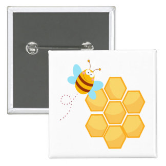 silly bee and beehive honey comb button