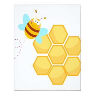 silly bee and beehive honey comb card
