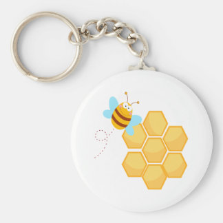 silly bee and beehive honey comb keychains