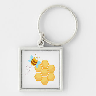 silly bee and beehive honey comb key chains