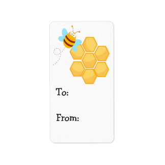 silly bee and beehive honey comb label