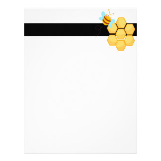 silly bee and beehive honey comb letterhead