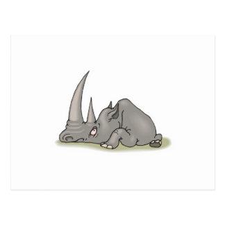 silly big horned rhino postcard