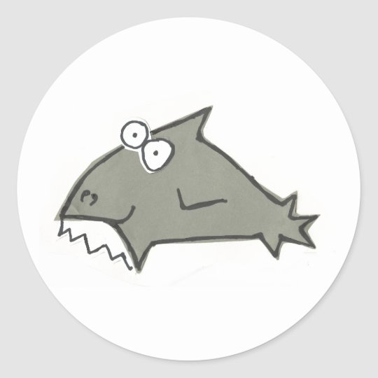 Silly Big Toothes Shark Classic Round Sticker