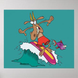 silly billy goat surfing surfer cartoon print