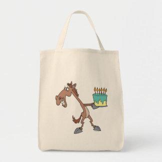 silly birthday horse with cake cartoon bag