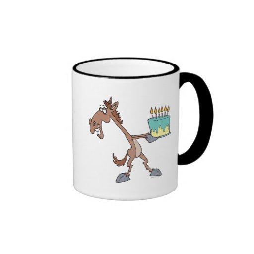 silly birthday horse with cake cartoon mugs