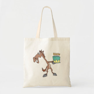 silly birthday horse with cake cartoon tote bags