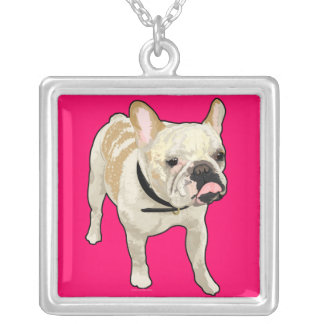 Silly Biscuit Pop Art French Bulldog Square Pendant Necklace