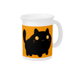 Silly Black Cat Beverage Pitcher