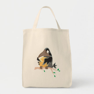 silly black crow eating cheese canvas bag