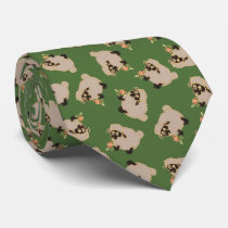 Silly Blackface sheep on a green background tie