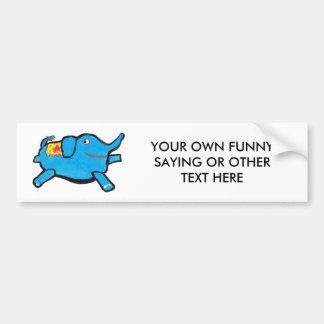 Silly Blue Elephant Bumper Sticker