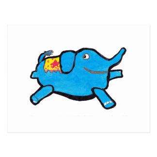 Silly Blue Elephant Postcard