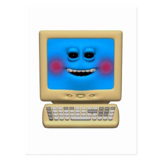 silly blushing smiling computer postcard