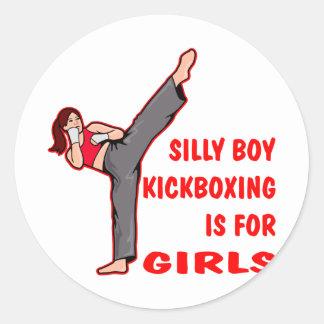 Silly Boy Kickboxing Is For Girls Round Sticker