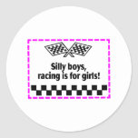 Silly Boys Racing Is For Girls Classic Round Sticker
