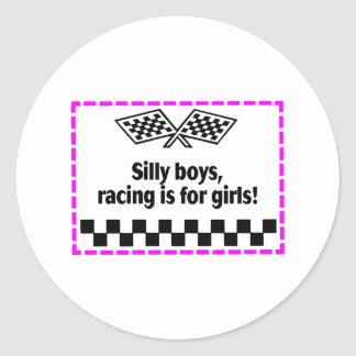 Silly Boys Racing Is For Girls Stickers