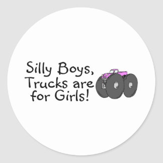 Silly Boys Trucks Are For Girls Pink Stickers