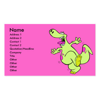 silly bright dancing dino dinosaur cartoon Double-Sided standard business cards (Pack of 100)