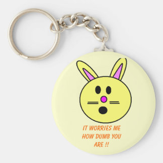Silly Bunny ! Basic Round Button Keychain
