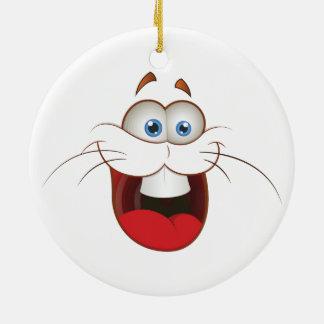 Silly Bunny Rabbit Face Ceramic Ornament