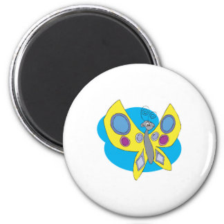 silly butterfly 2 inch round magnet