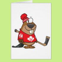 silly canadian hockey beaver cartoon card