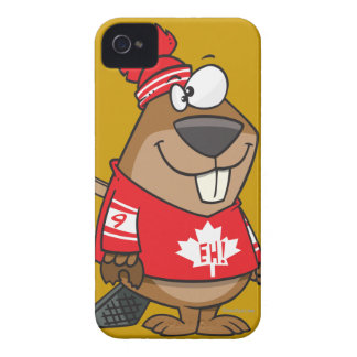 silly canadian hockey beaver cartoon Case-Mate iPhone 4 cases