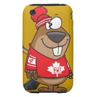 silly canadian hockey beaver cartoon tough iPhone 3 cover