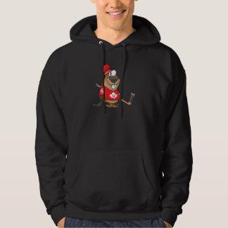 silly canadian hockey beaver cartoon hoodie