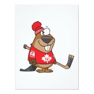 silly canadian hockey beaver cartoon 6.5x8.75 paper invitation card