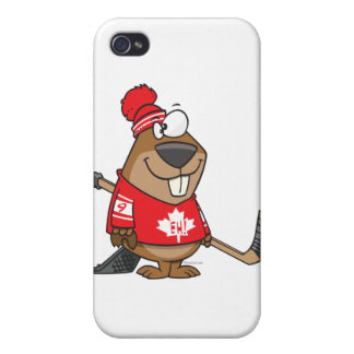 silly canadian hockey beaver cartoon iPhone 4/4S covers