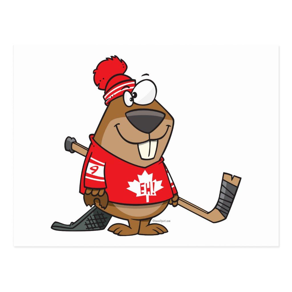 Silly canadian hockey beaver cartoon postcard r3445f16f799541319f8ccd1121148e5f vgbaq 8byvr 1024