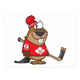 silly canadian hockey beaver cartoon postcard