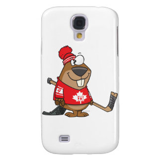 silly canadian hockey beaver cartoon samsung galaxy s4 cover