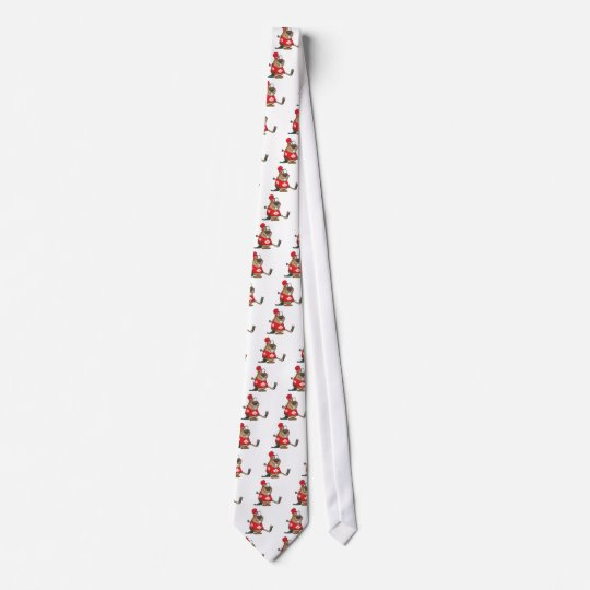 silly canadian hockey beaver cartoon tie