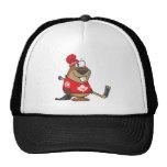silly canadian hockey beaver cartoon trucker hat