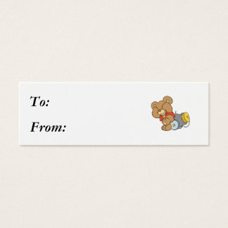 Silly Cannon Teddy Bear Mini Business Card