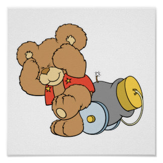 Silly Cannon Teddy Bear Posters