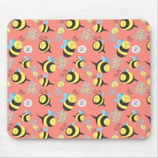 Silly Cartoon Bees Pattern Mouse Pad