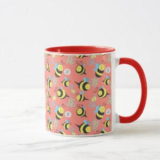 Silly Cartoon Bees Pattern Mug