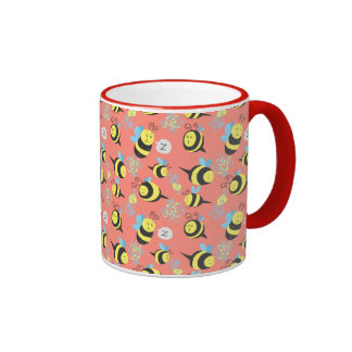 Silly Cartoon Bees Pattern Coffee Mugs