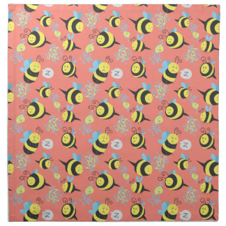Silly Cartoon Bees Pattern Printed Napkin